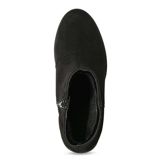 Kotníčkové černé kozačky z broušené kůže bata, černá, 796-6612 - 17
