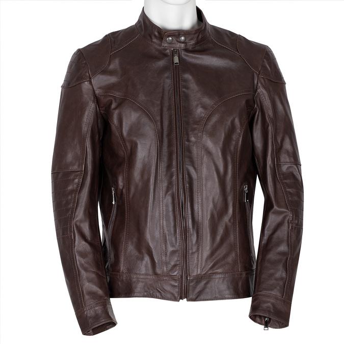 Pánská hnědá kožená bunda bata, hnědá, 974-4178 - 13