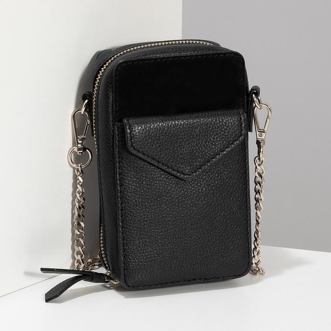 Kožená černá Crossbody kabelka bata, černá, 964-6626 - 17