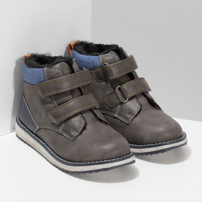 Hnědá kožená chlapecká zimní obuv mini-b, šedá, 291-4631 - 26