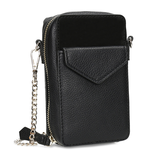 Kožená černá Crossbody kabelka bata, černá, 964-6626 - 13