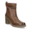Hnědé kožené kozačky na stabilním podpatku bata, hnědá, 794-4618 - 13