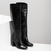 Černé kožené kozačky na stabilním podpatku bata, černá, 794-6624 - 26