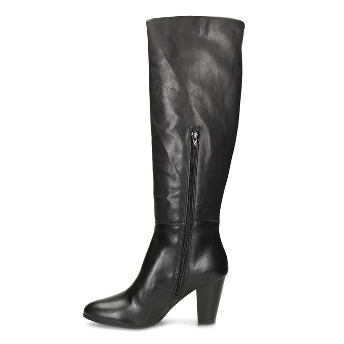 Černé kožené kozačky na stabilním podpatku bata, černá, 694-6614 - 17