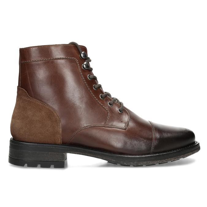 Pánská hnědá kožená kotníčková obuv bata, hnědá, 896-3767 - 19
