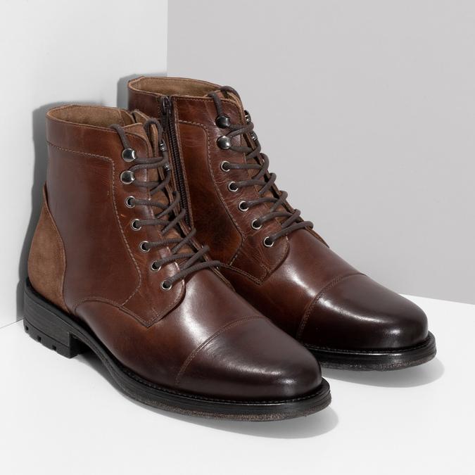 Pánská hnědá kožená kotníčková obuv bata, hnědá, 896-3767 - 26