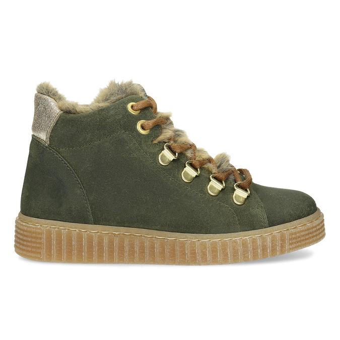 Kožená dětská zelená kotníčková obuv mini-b, zelená, 423-7608 - 19