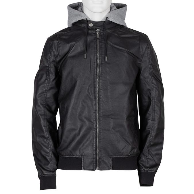 Pánská černá bunda s šedivou kapucí bata, černá, 971-6246 - 13