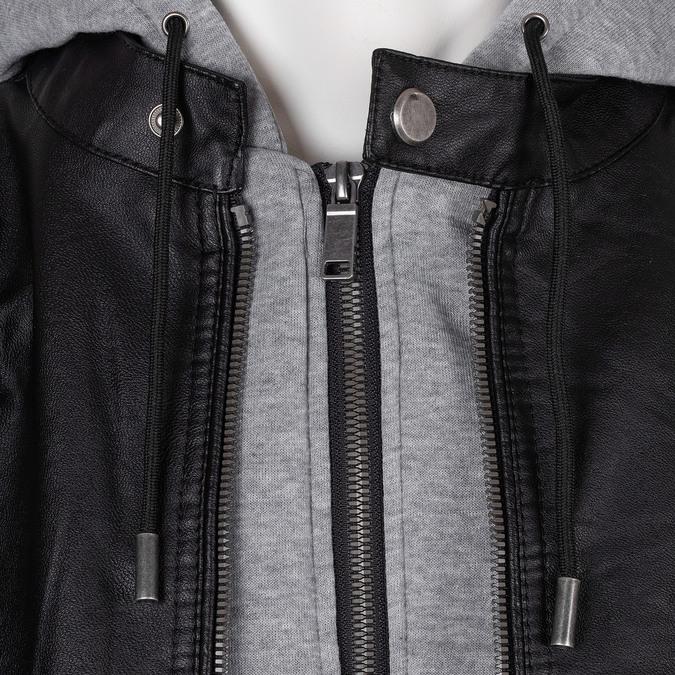 Pánská černá bunda s šedivou kapucí bata, černá, 971-6246 - 16
