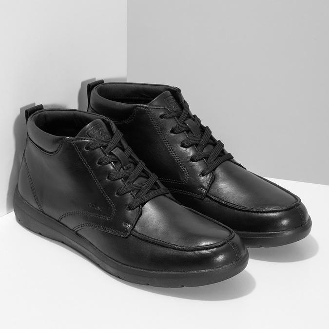 Černá pánská kotníčková kožená obuv geox, černá, 826-6352 - 26