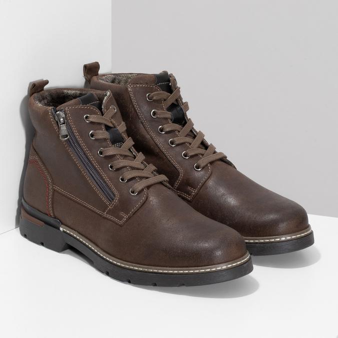 Pánská hnědá kožená kotníčková obuv bata, hnědá, 896-4601 - 26