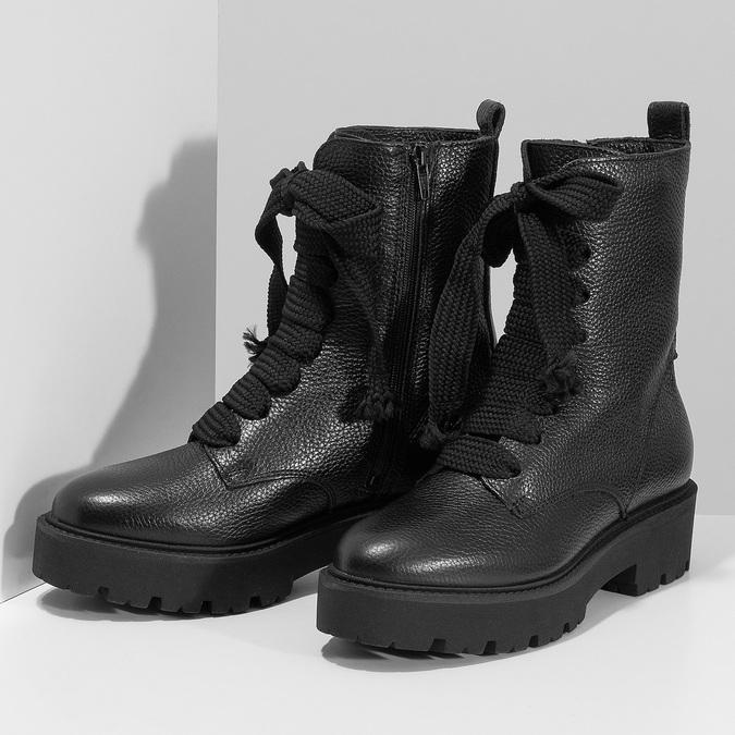 Kožené dámské kozačky na masivní podešvi bata, černá, 596-6610 - 16