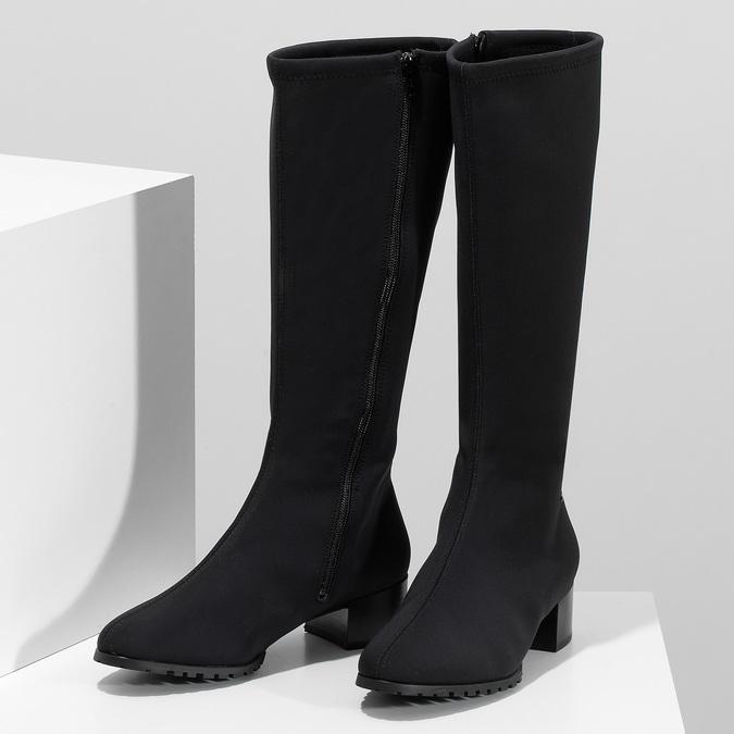 Černé dámské kozačky na stabilním podpatku hogl, černá, 699-6103 - 16