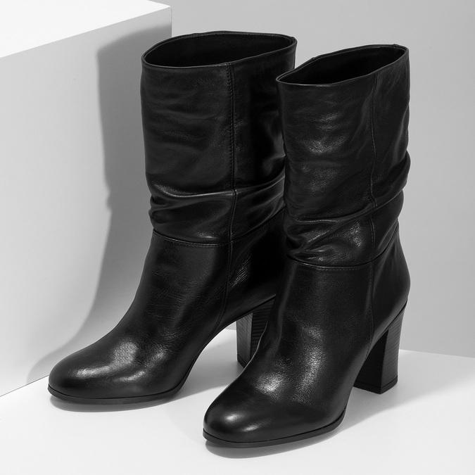 Černé dámské kožené kozačky s řasením bata, černá, 694-6622 - 16