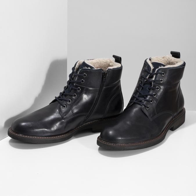Pánská kožená kotníčková obuv se zateplením bata, modrá, 896-9749 - 16