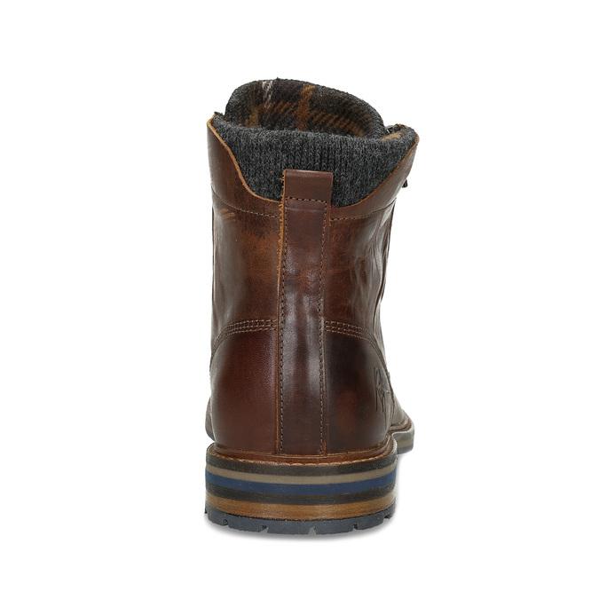 Pánská kožená kotníčková obuv bata, hnědá, 896-4745 - 15