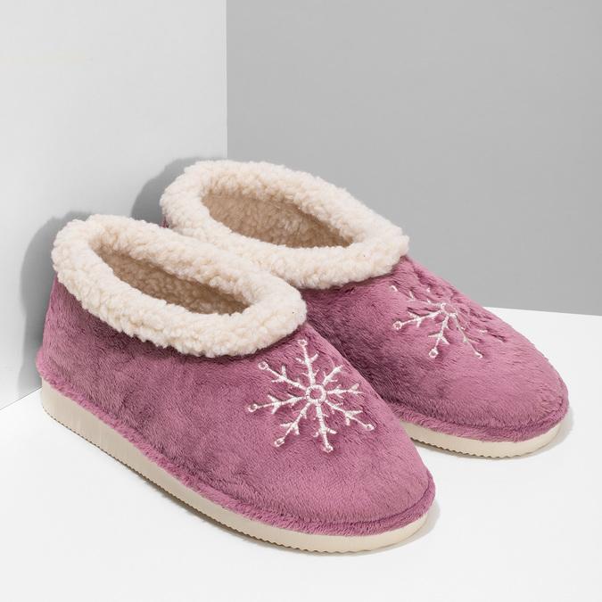 Fialová dámská domácí obuv se zateplením bata, fialová, 579-9641 - 26