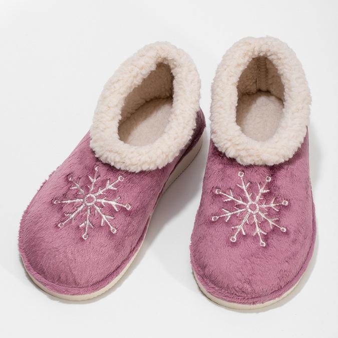 Fialová dámská domácí obuv se zateplením bata, fialová, 579-9641 - 16
