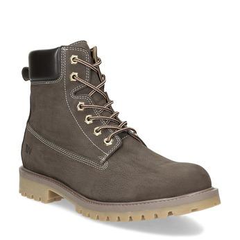 Hnědá pánská kotníčková obuv z broušené kůže weinbrenner, hnědá, 896-4733 - 13