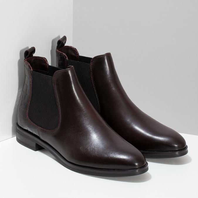 Vínová dámská kožená Chelsea obuv bata, červená, 594-5603 - 26