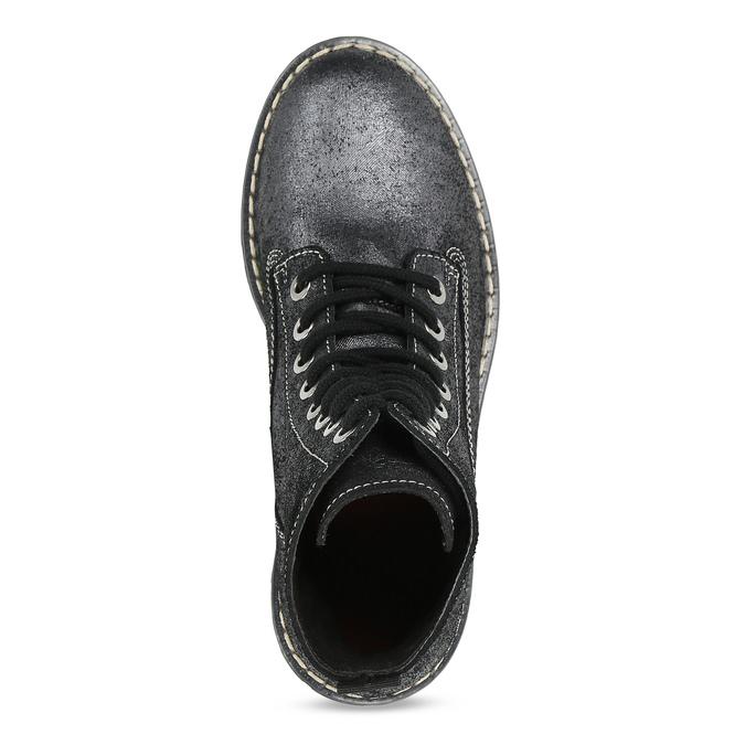 Dámská kožená metalická kotníčková obuv bata-125th-anniversary, černá, 549-6604 - 17