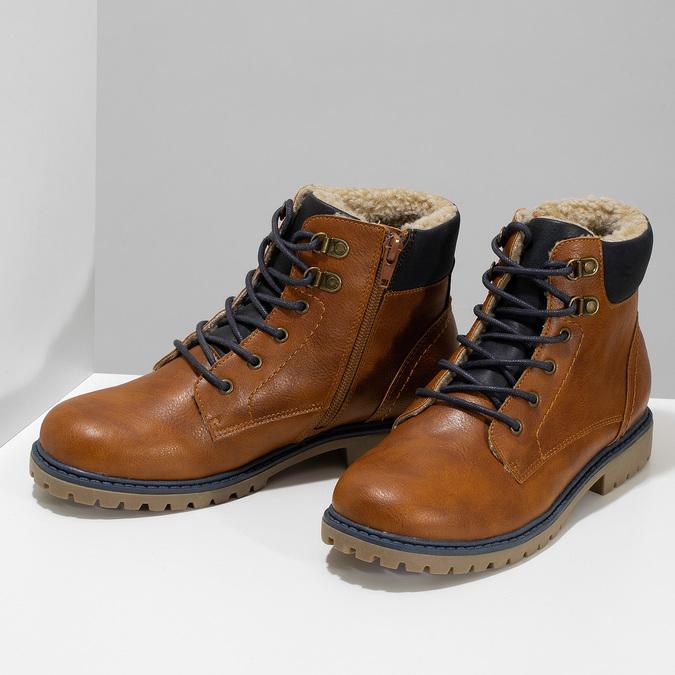Hnědá dětská kotníčková obuv s prošitím mini-b, hnědá, 491-3667 - 16