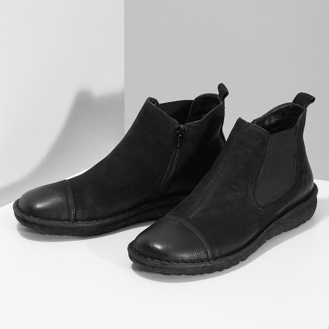 Kožená dámská kotníčková Chelsea obuv bata, černá, 594-6626 - 16