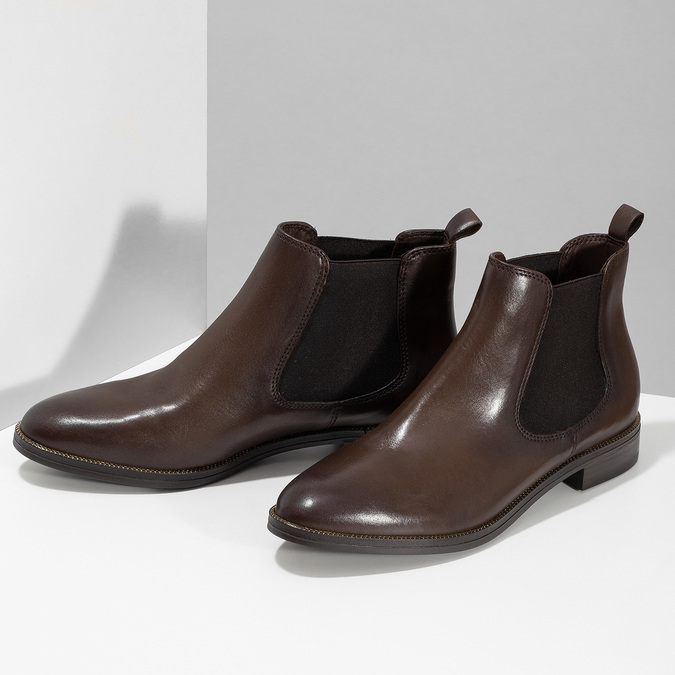 Dámská kožená hnědá Chelsea obuv bata, hnědá, 594-4645 - 16
