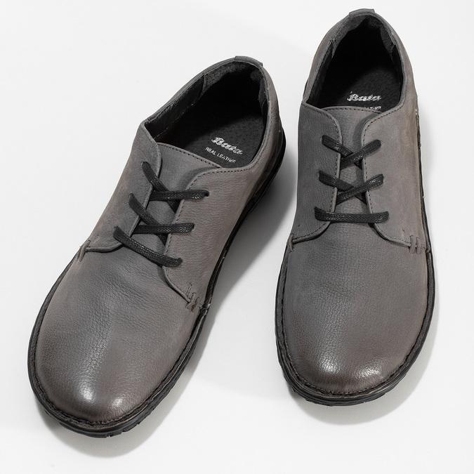 Šedé dámské kožené ležérní polobotky bata, šedá, 594-2601 - 16