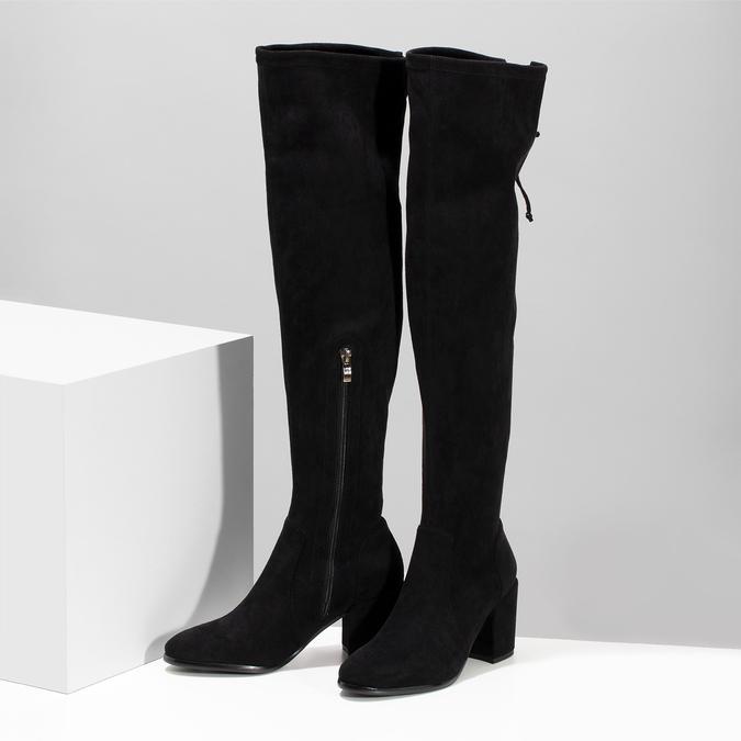 Vysoké černé kozačky na stabilním podpatku bata, černá, 699-6609 - 16