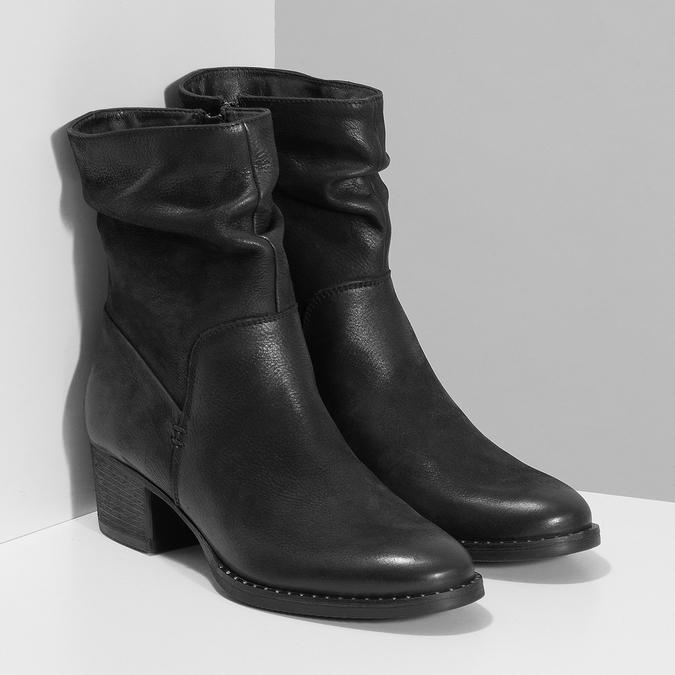 Dámské černé kožené kozačky s řasením bata, černá, 696-6601 - 26