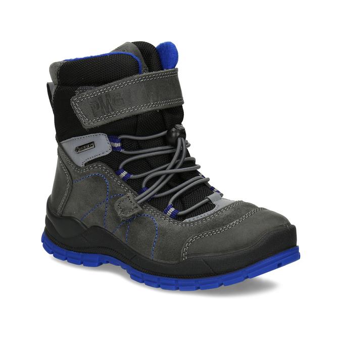 Šedá dětská zimní obuv s modrými detaily primigi, šedá, 293-2606 - 13