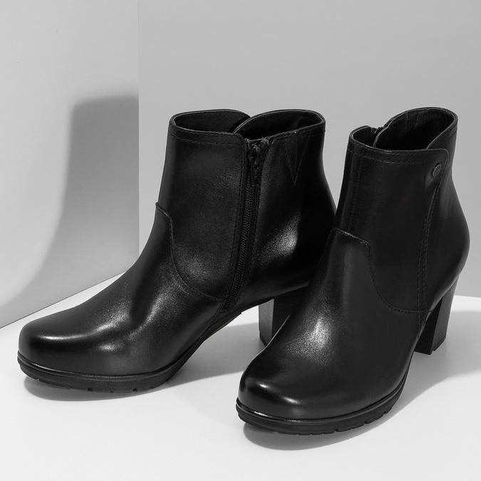 Černé kožené kotníčkové kozačky bata, černá, 694-6604 - 16