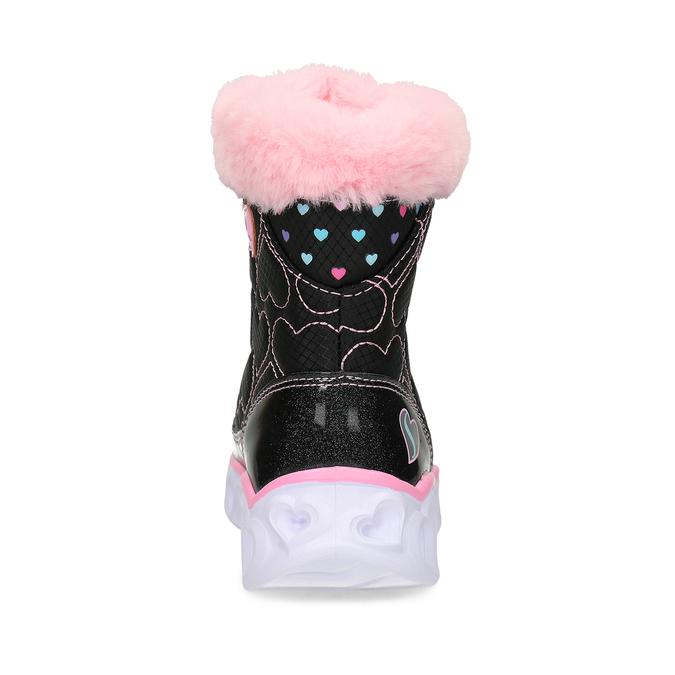 Černé dětské sněhule s růžovým kožíškem skechers, černá, 399-6111 - 15