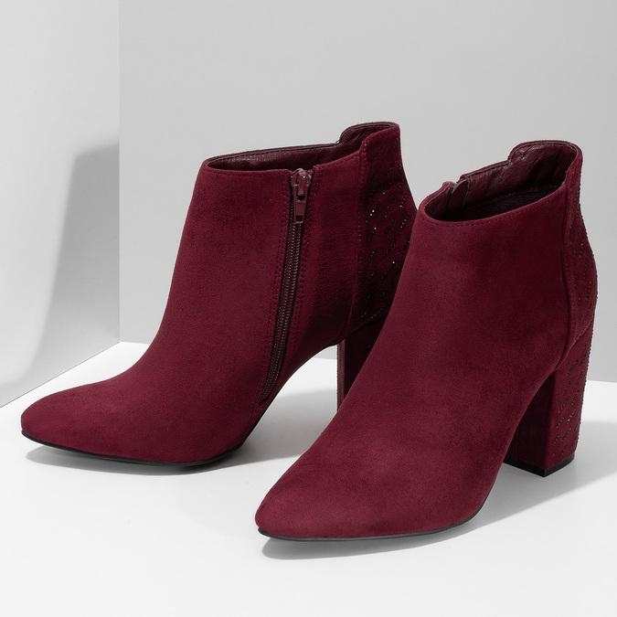 Dámská kotníková obuv na stabilním podpatku bata, červená, 699-5605 - 16