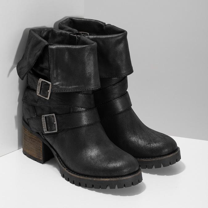 Černé dámské kozačky s přezkami bata, černá, 691-6607 - 26
