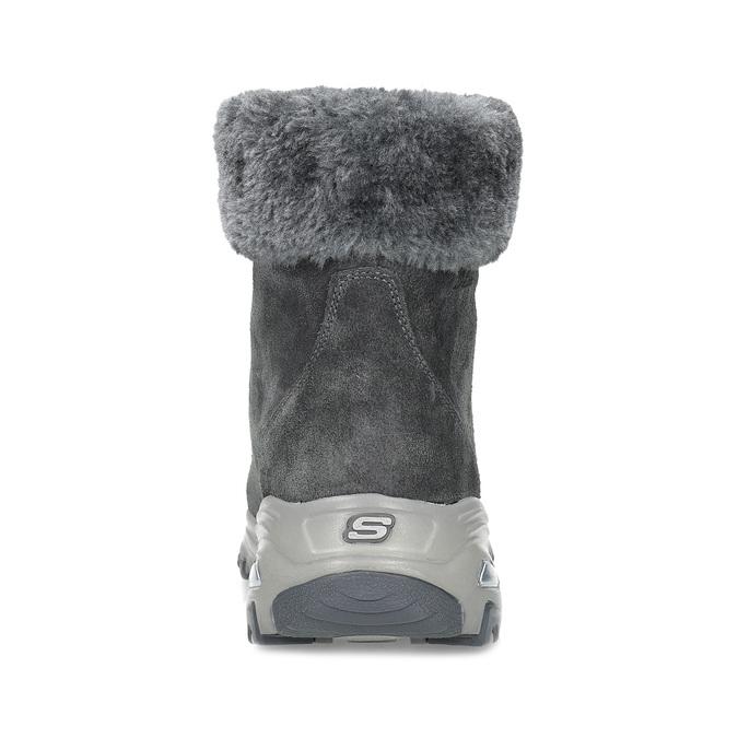 Dámská šedá zimní obuv z broušené kůže skechers, šedá, 593-2110 - 15