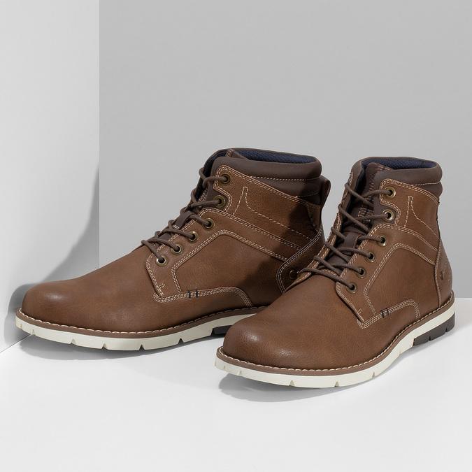 Hnědá pánská kotníčková obuv s prošitím bata-red-label, hnědá, 891-3609 - 16