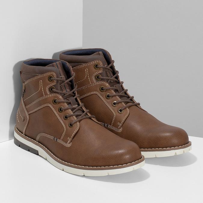 Hnědá pánská kotníčková obuv s prošitím bata-red-label, hnědá, 891-3609 - 26