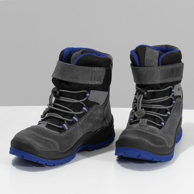 Šedá dětská zimní obuv s modrými detaily primigi, šedá, 293-2606 - 16