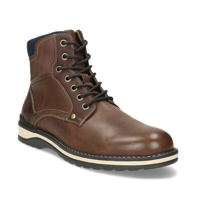 Hnědá pánská kotníčková obuv s prošitím bata-red-label, hnědá, 891-4606 - 13