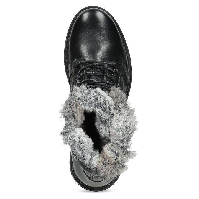 Černé kotníčkové kožené kozačky s kožíškem bata, černá, 594-6686 - 17