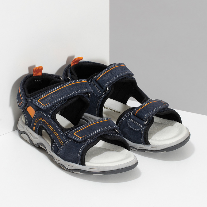 Sandály modré kožené weinbrenner, modrá, 463-9618 - 26