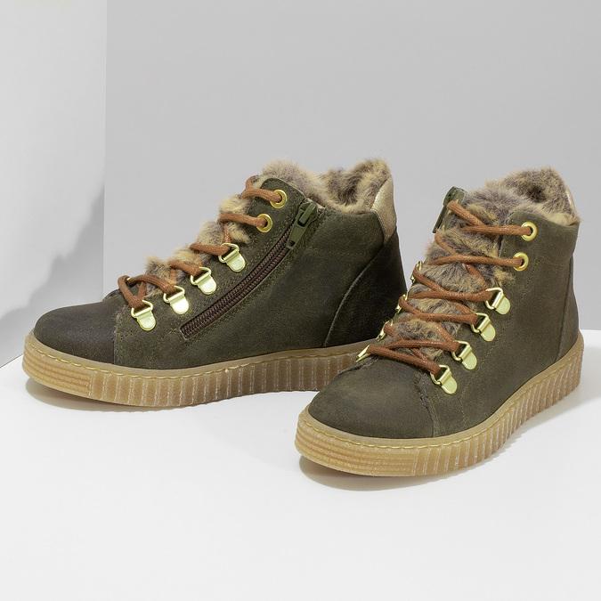 Kožená dětská zelená kotníčková obuv mini-b, zelená, 423-7608 - 16
