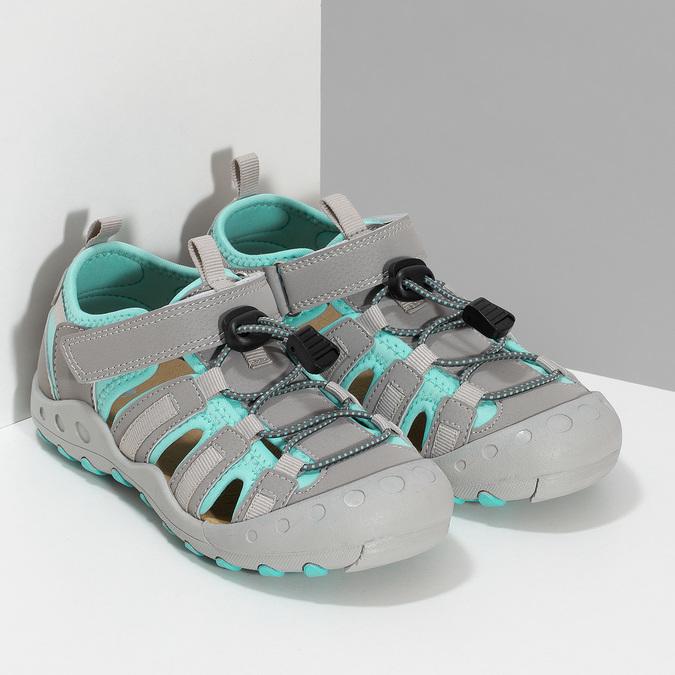 Šedé dětské sandály mini-b, šedá, 461-2716 - 26