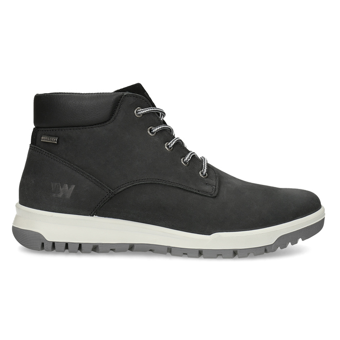 Černá pánská kotníčková obuv z broušené kůže weinbrenner, černá, 896-6396 - 19