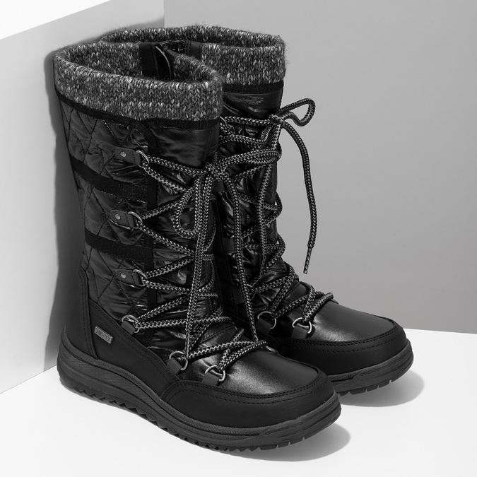 Černé dámské sněhule s úpletem bata, černá, 599-6634 - 26