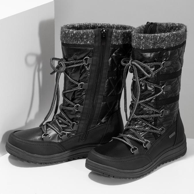 Černé dámské sněhule s úpletem bata, černá, 599-6634 - 16