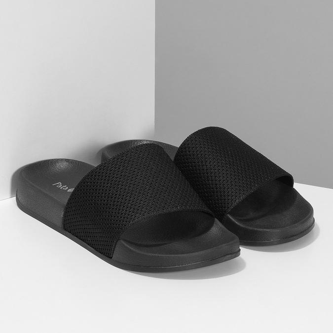 Pánské černé nazouváky s textilním páskem pata-pata, černá, 879-6689 - 26