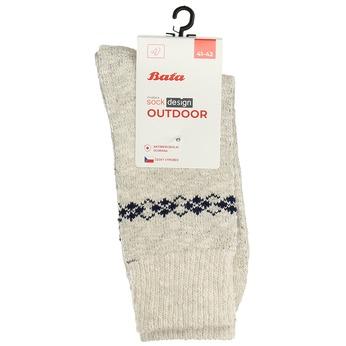 Pánské outdoor ponožky se vzorem matex, béžová, 919-8603 - 13